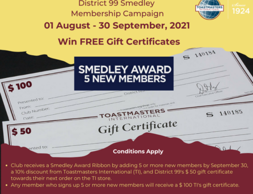 Smedley Membership Building Campaign(August 1 to September 30, 2021)